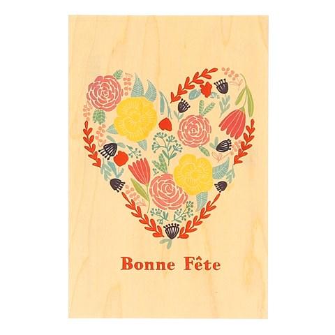 Carte en bois Coeur fleurs