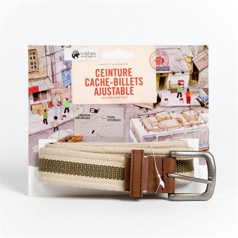 Ceinture cache-billets ajustable kaki