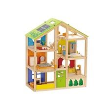 Maison de poupée en bois meublée