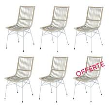 Lot de 6 chaises remi en kubu et métal